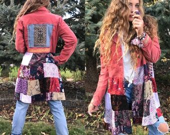 Patchwork Hippy Jacket, Size M,festival jacket, patchwork blazer, eco jacket, upcycled jacket, hippy coat,corduroy jacket, penny lane, Zasra