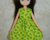 """Handmade 7"""" doll clothes for Lottie - green floral dress"""