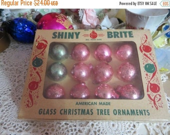 ON SALE Vintage Shiny Brite Tiny Feather Tree Glass Ornaments-Original Box-1 dozen-20mm-Miniature-Shabby-Chic-Cottage-PINK & Aqua