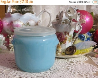 Store Closing SALE Vintage Glass Whipped Honey Jar with Lid-McKee-Aqua-Turquoise