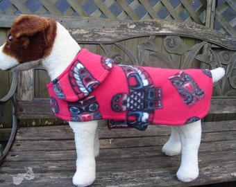 Dog Jacket -  Aboriginal Owl Fleece Coat- Size Small- 12 to 14 Inch - Or Custom Size