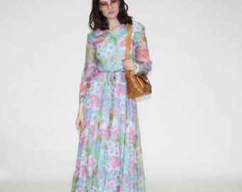 On SALE 40% Off - Vintage 1970s Maxi Dress - 70s Pastel Floral Maxi Dress  - The Cloud Walker Dress   - WD0143