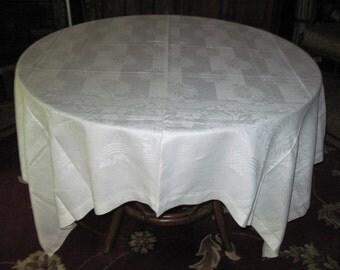 Vintage Mid Century Retro White Cotton Linen Striped & Floral Vine Damask Pattern Tablecloth Circa 1950's