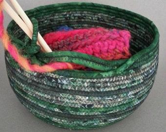 Knitting Basket, batik basket, coiled fabric basket