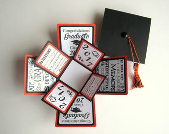 Graduation Card Exploding Box Orange and Black Class of 2017 READY TO SHIP