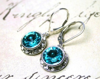 ON SALE Aqua Blue Crystal Earrings - Light Turqoise Blue Swarovski Crystal Halo Earrings - Swarovski Crystal and Sterling Silver Leverbacks