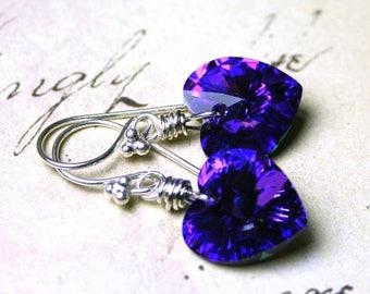ON SALE Wire Wrapped Swarovski Crystal Heart Earrings in Heliotrope - Purple and Blue - Sterling Silver and Swarovski Crystal