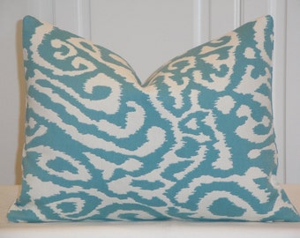 DOUBLE-SIDED - 12 x 16 - Decorative Pillow Cover - IKAT Animal Print - Blue Turquoise - Sofa Pillow - Cushion Cover