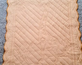 Hemstitched, Crocheted, Giraffe Tricot and Flannel Baby Quilt - Hemstitched and Crocheted