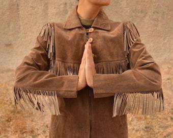 Vintage 70s Leather Fringe Jacket Light Brown Taupe