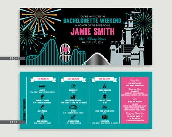 Amusement Park Bachelorette Party - Bachelorette Party Itinerary  - Personalized Printable File or Print Package  #00130-PI10