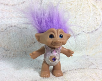 Vintage Ace Novelty Co Jewel Belly Troll Doll 1990s Kids Toy Purple Hair Original Outfit Adorable