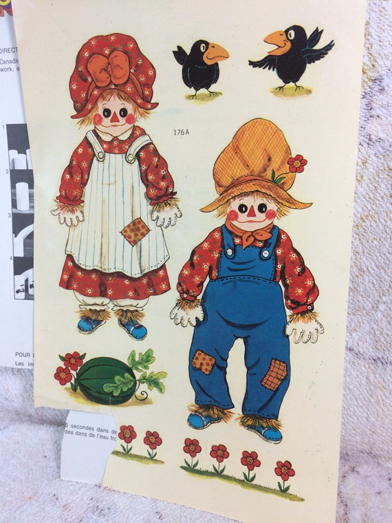 Sale sale sale 1970s vintage water applied decals raggedy for Telephone mural 1970