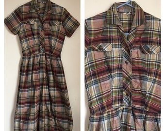 Vintage 1950's Brown Red Plaid Swing Pinup Mad Men Rockabilly Collared Dress Small S