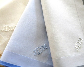 Set of 3 Assorted Color Fine Cotton Mens Handkerchiefs, Style No. 2042 with Monogram Style No. 2