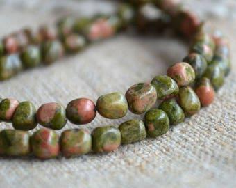 Unakite Pebble 4-7mm Natural Gemstone Beads 16 Inches Strand