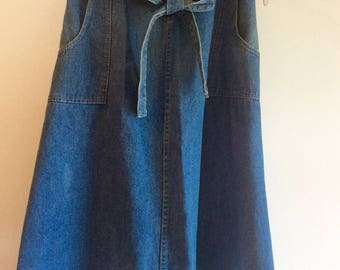 Cotton Denim Wrap Jean Skirt 1970s Vintage