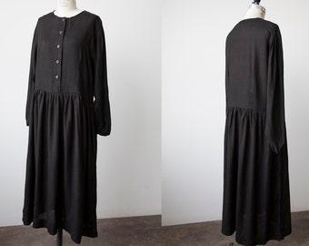 Vtg  90s Black Long Sleeve Maxi Peasant Dress Oversized M