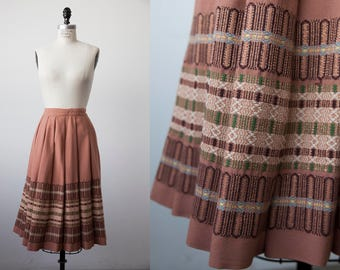 Vtg Rose Pink Wool Pleated Skirt High Waist Woven Stripe 70s S-M