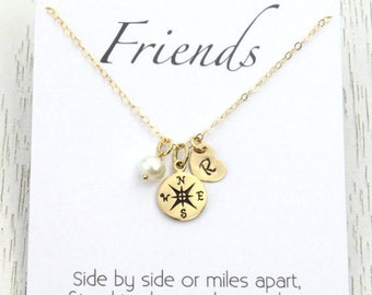 Spring SALE Friendship Gift, Gold Compass Initial Necklace, Personalized Wedding Bridal Gifts, Initial Heart Tiny Charm,Friend Birthday Gift