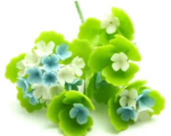 Miniature Polymer Clay Flowers Blue Hydrangea with Leaves, 12 bunches