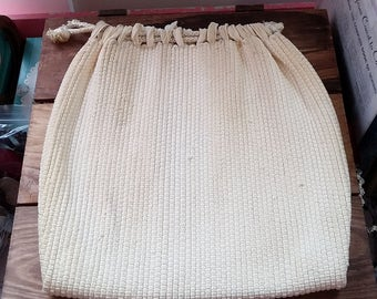 Vintage Purse Cream Different Woven Drawstring Pouch 40's 50's Mid Century Fashion Handbag or Use for Storage Drawstring Bag