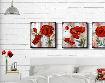 Red Poppy Set of Four 5, 6, 7 or 8 inch Handmade Glass and Wood Wall Blox from Dictionary page book art - WilD WorDz - Poppy Talk set of 4