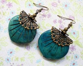 Teal Leaf and Brass Filigree Boho Earrings (3384)