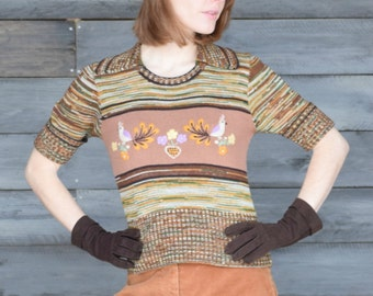 Vintage 1970's Rustic Knit Sweater Shirt Small Brown Green