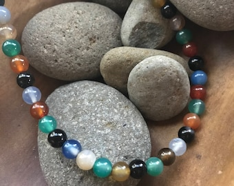 Multicolored Natural Agate Bead Choker Necklace