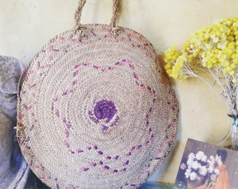 1950s French VTG natural woven straw round bag/  BASKET