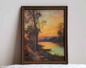 """Vintage Sunset Cabin In The Woods Art Print in Gold Embossed Wood Frame, """"Eventide"""" By Reliance Picture Frame Co. USA, Rustic Woodlands"""