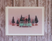 Midcentury Modern Holiday Card - Aqua VW Bus Christmas - photo card, toy car, Volkswagen, aqua, pink, miniature, vintage, vdub