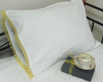 Vintage White Cotton Pillow Case With Variegated Yellow Tatting Trim