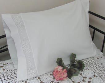 Vintage Single White Cotton  Pillowcase Pillow Case with White Crochet Lace Inset Trim