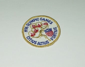 Vintage Souvenir Travel Patch Sew On 1976 Olympic Games Citius Altius Fortius sm