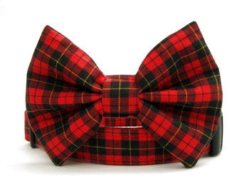 Red and Black Plaid Bow Tie Dog Collar - Macqueen Tartan