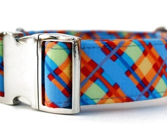 Plaid Dog Collar in Sky Blue, Orange, Yellow and Red with Nickel Plate Hardware - Extra Wide Dog Collar - 1.5 Inch Wide Dog Collar