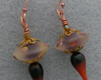 Earrings, with Artisan Lampwork