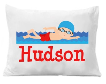 Swimming Personalized Pillow Case, Children's Personalized Pillow Case, Swimming Gift, Kids Personalized Gifts