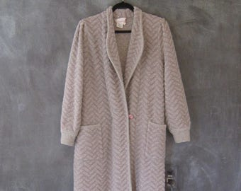 80s Sweater Knit Coat Jacket Lavender Grey Chevron Wool Angora Duster Long Cardigan Sweater Ladies M/L