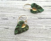 Small Leaf Earrings - 14K gold fill hooks hand crafted w/ blue green aged verdigris patina - realistic leaves simple woodland minimalist