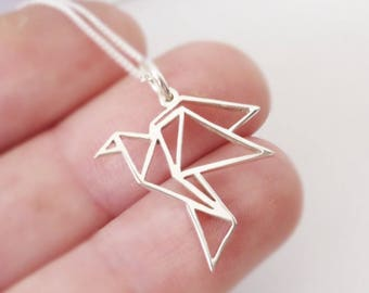 Sterling silver Origami inspired Birdy Pendant