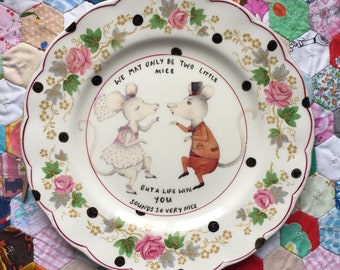 Wedding Mice Couple With Happy Life Phrase Vintage Illustrated Plate