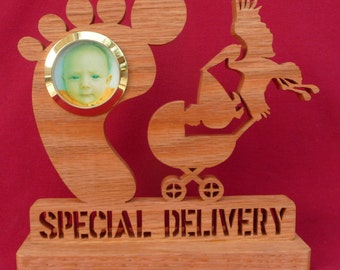 """Stork Carrying Baby, Hand Cut in 1/2"""" Solid Oak, New Born, Baby Carriage, New Baby, Special Delivery"""