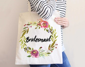 Wedding Bridal Party Tote Bags Bridesmaids Gifts for Bride and Friends, Moody Wreath Bags for Wedding (Item - MFB300)