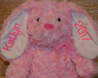 personalized bunny-Easter bunny-custom Easter gift-embroidery-pink