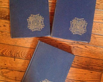 Vintage 1940's Veterans of Foreign Wars Pictoral History of Second World War Books Volume 1 2 3