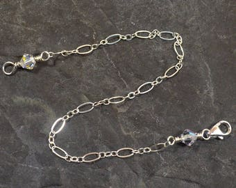 3 Inch Clear Crystal Necklace Extender - Sterling Silver - Figure Eight Chain