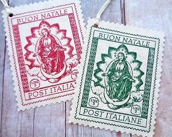 Italian Christmas Tags Buon Natale Post Italiane Red and Green